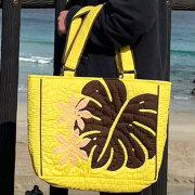 ハワイアンキルト バッグ モンステラ イエロー 人気 かわいい ギフト プレゼント 女の子 誕生日 ホワイトデー 記念日 プレゼント