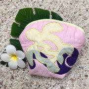 ハワイアンキルト Hawaiian Quilt ホヌ柄コインケース 財布 小銭入れ 小物入れ ピンク イエロー パープル