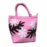 ハワイアンキルト ハンドバッグ プルメリア×モンステラ ピンク Hawaiian quilt レディースバッグ ジョイスバッグ 母の日ギフト 通販