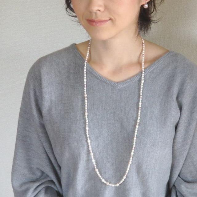 ロング パステルカラー淡水パールネックレス【85cmネックレス】