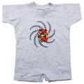 KIDS SPIRAL BEAR SHORT SLEEVE GRAY ROMPER BABY KID'S JUMP SUIT
