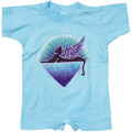 WINGED CAT SHORT SLEEVE BLUE ROMPER BABY KID'S JUMP SUIT