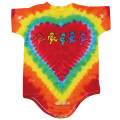 ROW OF BEARS TIE-DYE HEART SHORT SLEEVE ROMPER BABY KID'S JUMP SUIT