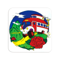 SKULL BUS IN MOUNTAIN ROSES STICKER