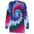 TIE-DYE THERMAL SPIRAL CRANBERRY LONG SLEEVE T-SHIRTS