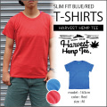 HARVEST HEMP TEE SLIM FIT T-SHIRTS/BLUE・RED