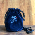 【 EMBROIDERED VELVET DRAWSTRING POUCH 】BEAR 巾着 ポーチ 刺繍
