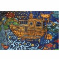 3D STEAMPUNK TUGBOAT TAPESTRY