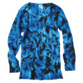 TIE-DYE THERMAL CRINKLE BLUE & BLACK LONG SLEEVE T-SHIRTS