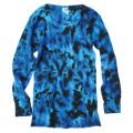 TIE-DYE THERMAL CRINKLE BLUE & BLACK LONG SLEEVE T-SHIRTS