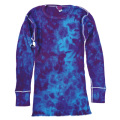 TIE-DYE THERMAL CRINKLE PURPLE & BLUE LONG SLEEVE T-SHIRTS