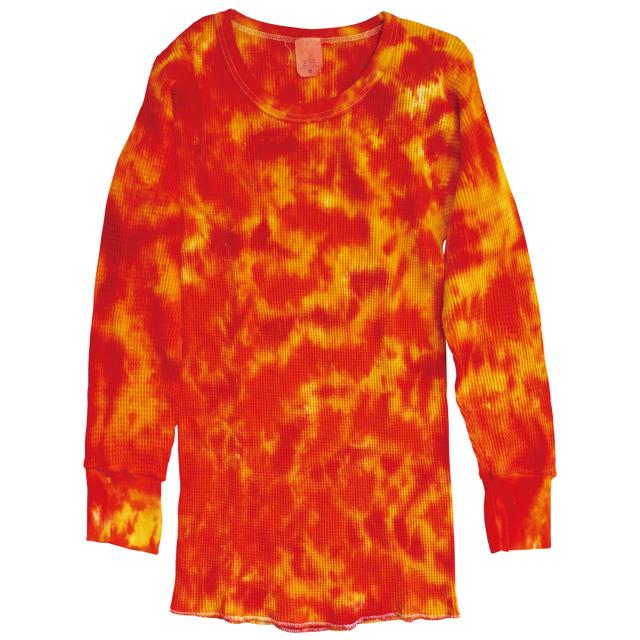 TIE-DYE THERMAL CRINKLE ORANGE & RED LONG SLEEVE T-SHIRTS
