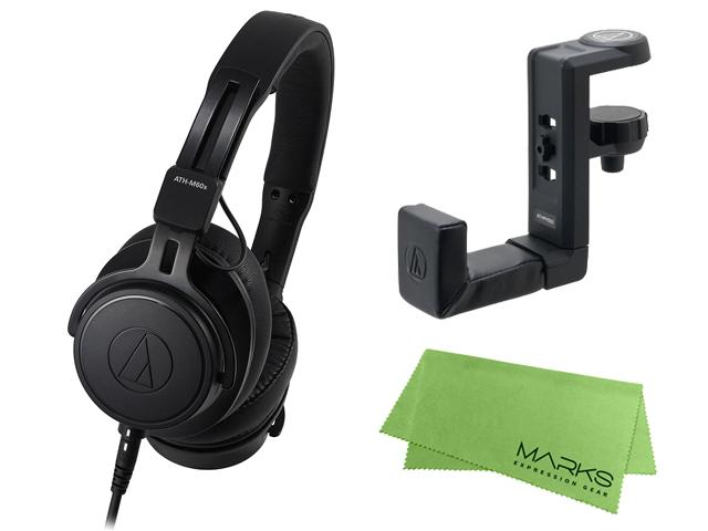 【即納可能】audio-technica ATH-M60x + ヘッドホンハンガー AT-HPH300 セット [マークス・オリジナルクロス付](新品)【送料無料】