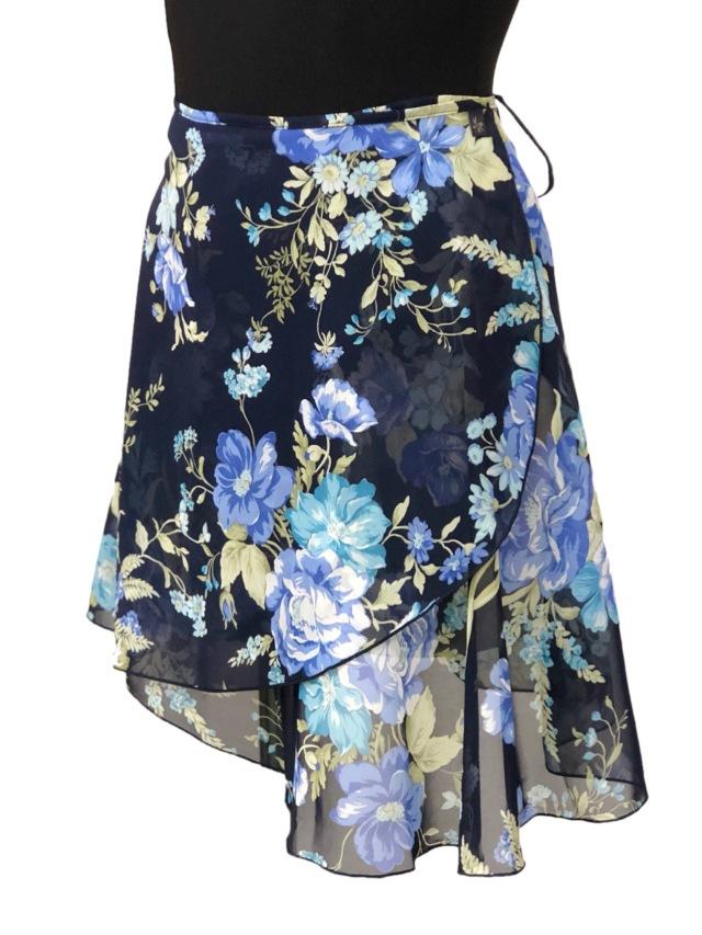 巻きスカート プリント柄 フラワーネイビー