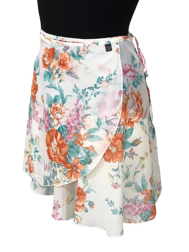 バレエウェア・巻きスカート プリント柄 フラワーホワイト・1