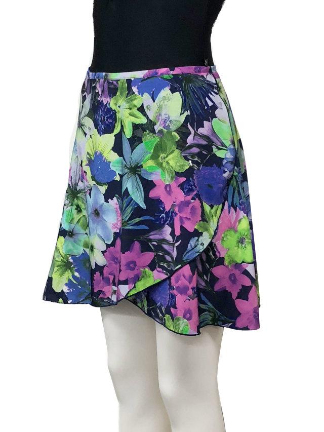 バレエウェア・巻きスカート フラワーネイビー・6
