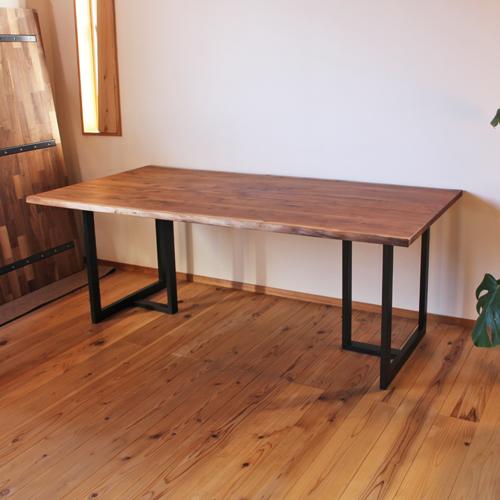 ブラックウォールナット無垢 耳付き7枚接ぎダイニングテーブル天板 サイズオーダー 厚さ2.7cm 天然木製 送料無料
