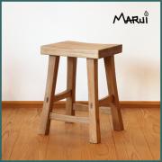 オーク角スツール 天然木製 楢無垢 ナラチェア 椅子