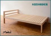 サイズオーダー棚付ひのきベッド [2040・2140] 天然木製 オイル仕上げ シングル セミダブル ダブル 幅150cmまでのシンプルベッド 国産 送料無料