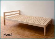 ひのき棚付シングルベッド 天然木製無垢 オイル仕上げ 桧フレーム すのこ 国産 送料無料