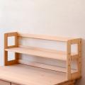 サイズオーダーローデスクスタンド(棚タイプ) 仕切り板付 幅88cm 高さ40cm 天然木製ひのき無垢 オイル仕上げ 国産