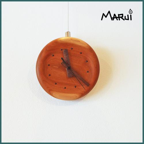 天然木製チェリー無垢壁掛け時計
