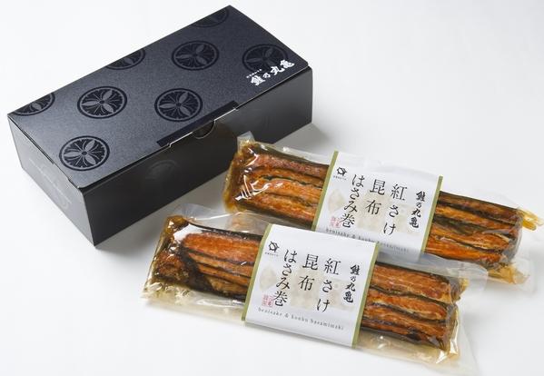 天然紅鮭昆布はさみ巻 2本(化粧箱入) KB16