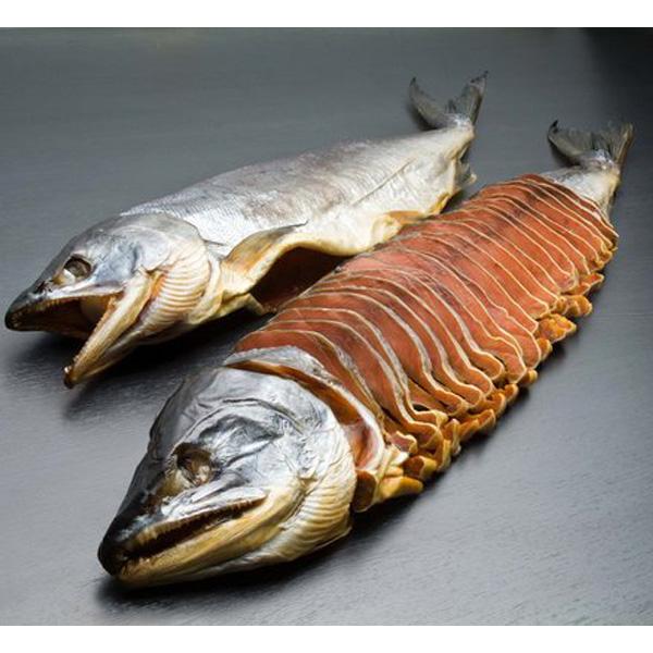 秋鮭 蔵造り塩引き鮭一本姿切身(輪切身) ABG