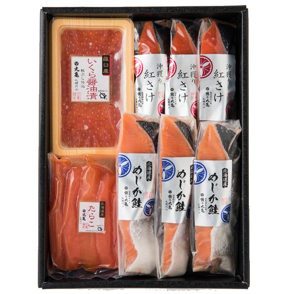 さしみ鮭めじかと紅さけ(甘塩)の魚卵詰合せ VMB74