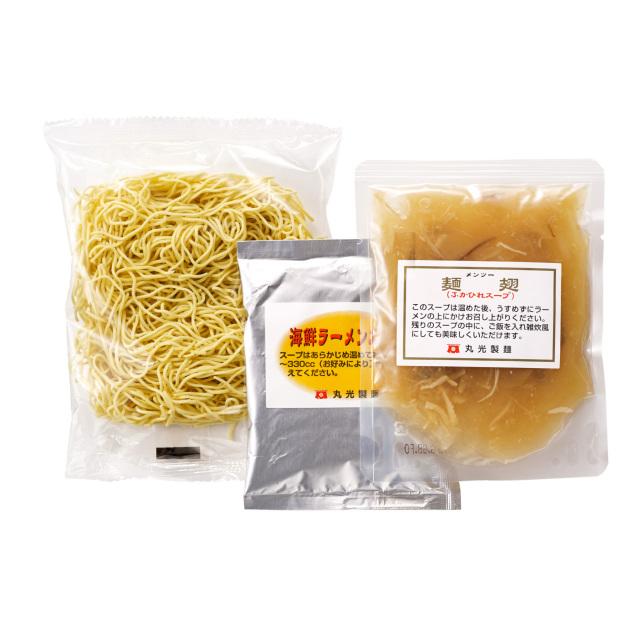 低温ミスト製法の熟成乾麺と海鮮ラーメンスープと麺翅(メンツー)(ふかひれスープ)