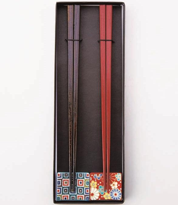 国産うるし箸 九谷焼箸置き2客揃え