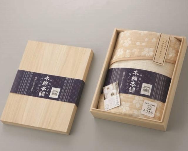 木綿本舗 三河木綿 愛知蒲郡産 五重織ガーゼケット(木箱入)