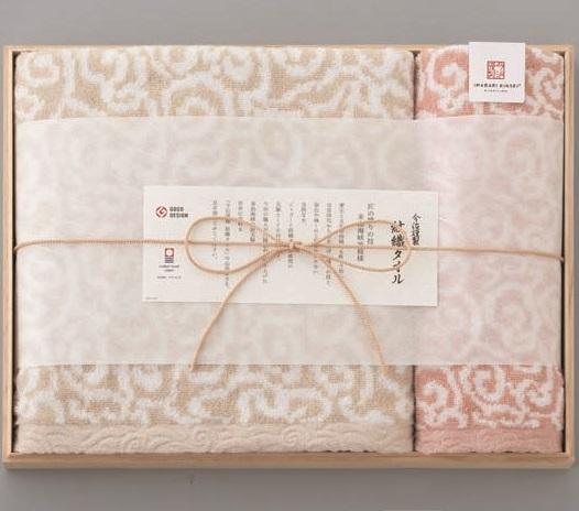 今治謹製 紋織タオル バスタオル、ウォッシュタオル(木箱入)