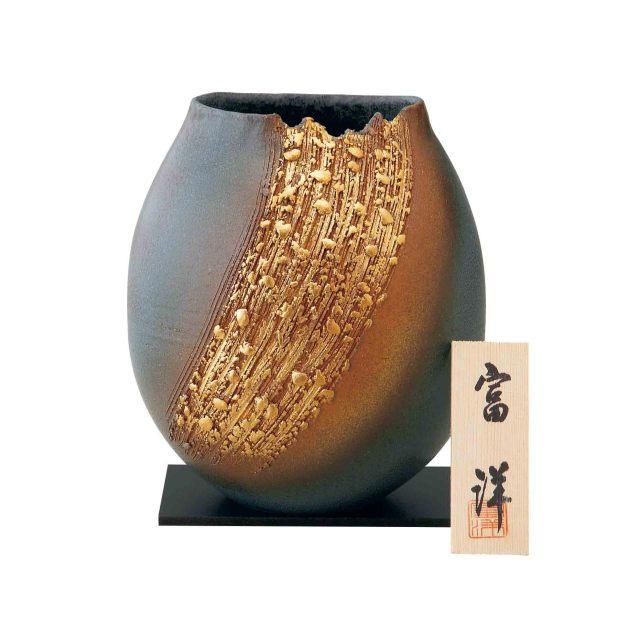【MM7-164-6】   信楽焼花瓶 焼〆金彩