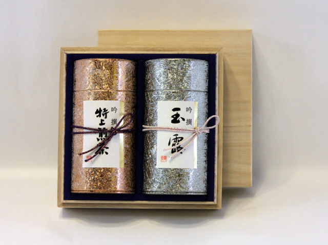 【送料無料】吟選(ぎんせん)/極上煎茶180g缶・玉露缶の詰合せ 木箱入