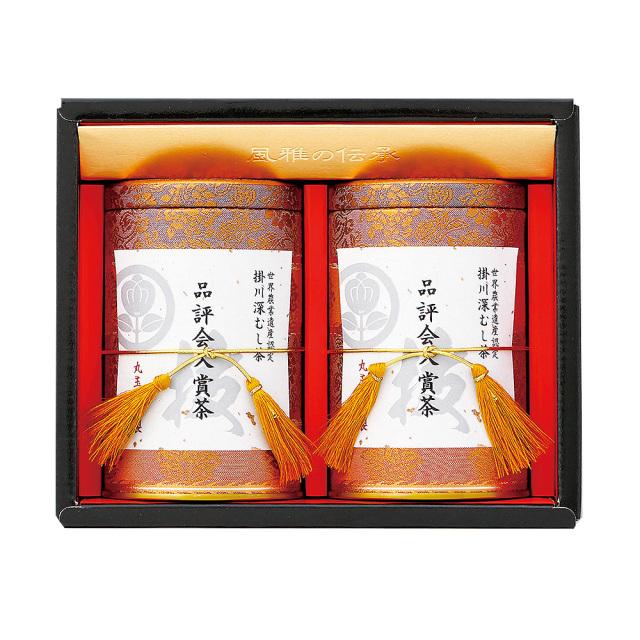 掛川深蒸し茶 品評会入賞茶(木箱入り 120g缶)2本入