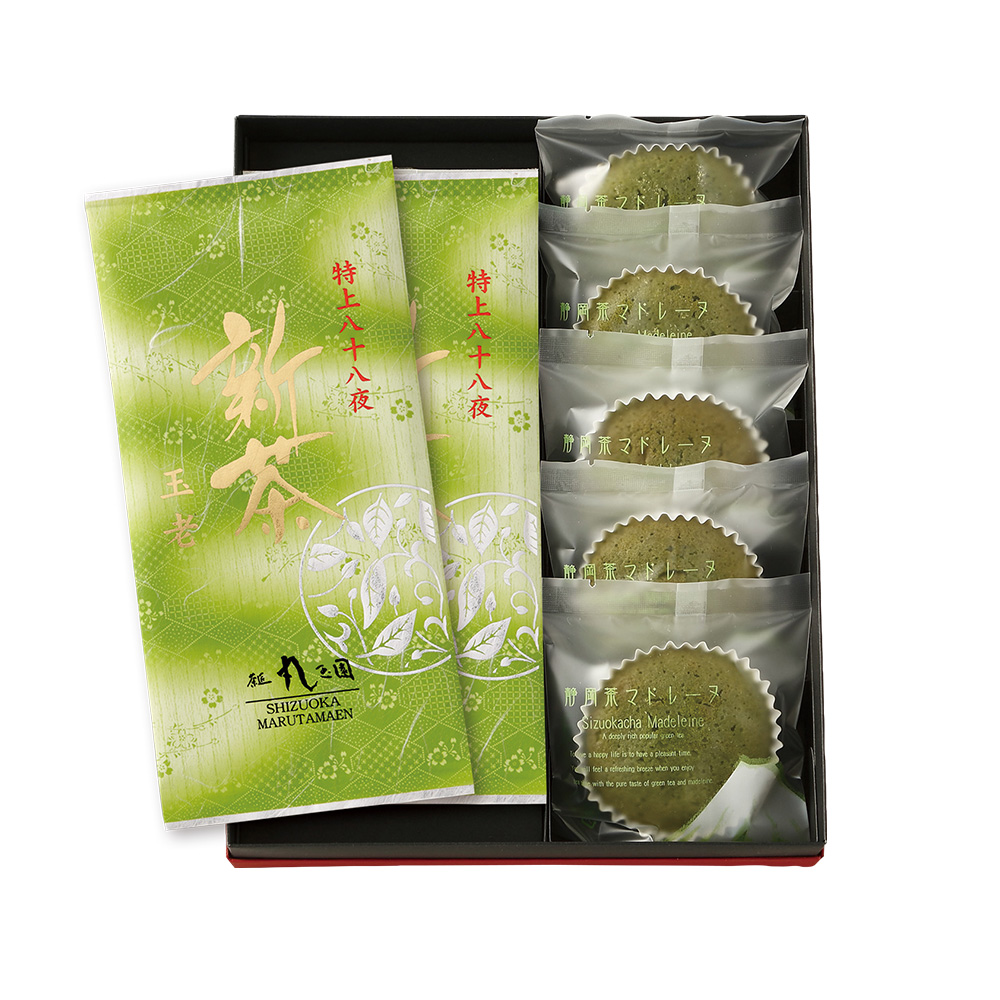 【新茶】特上八十八夜新茶(90g×2本)・新茶マドレーヌ(5個)セット【5月上旬発送予定】