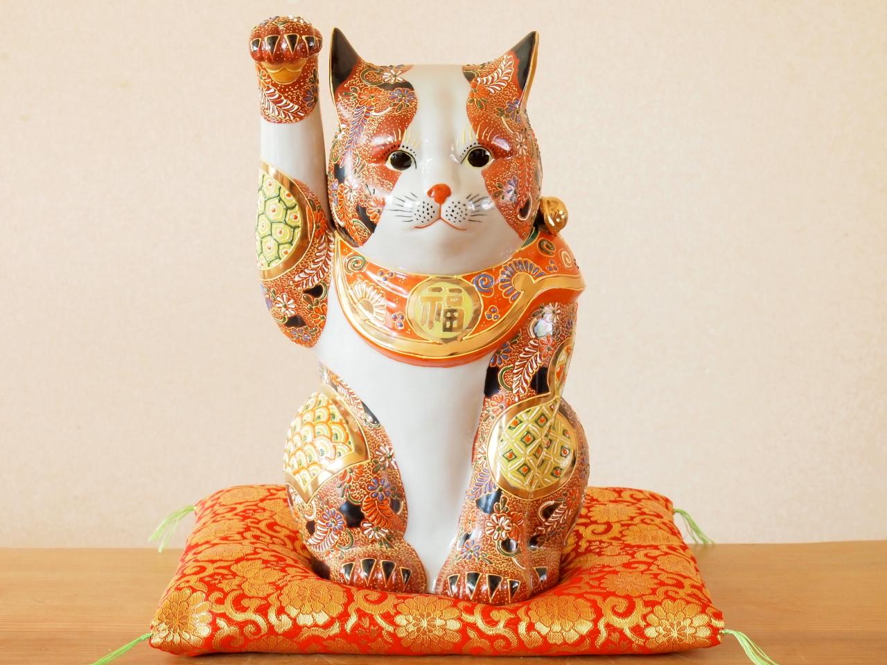 九谷焼 10号招き猫 盛小紋