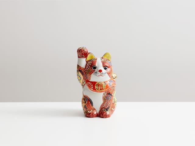 4号招き猫 盛小紋 紙箱入/ 九谷焼 陶幸 マルヨネ