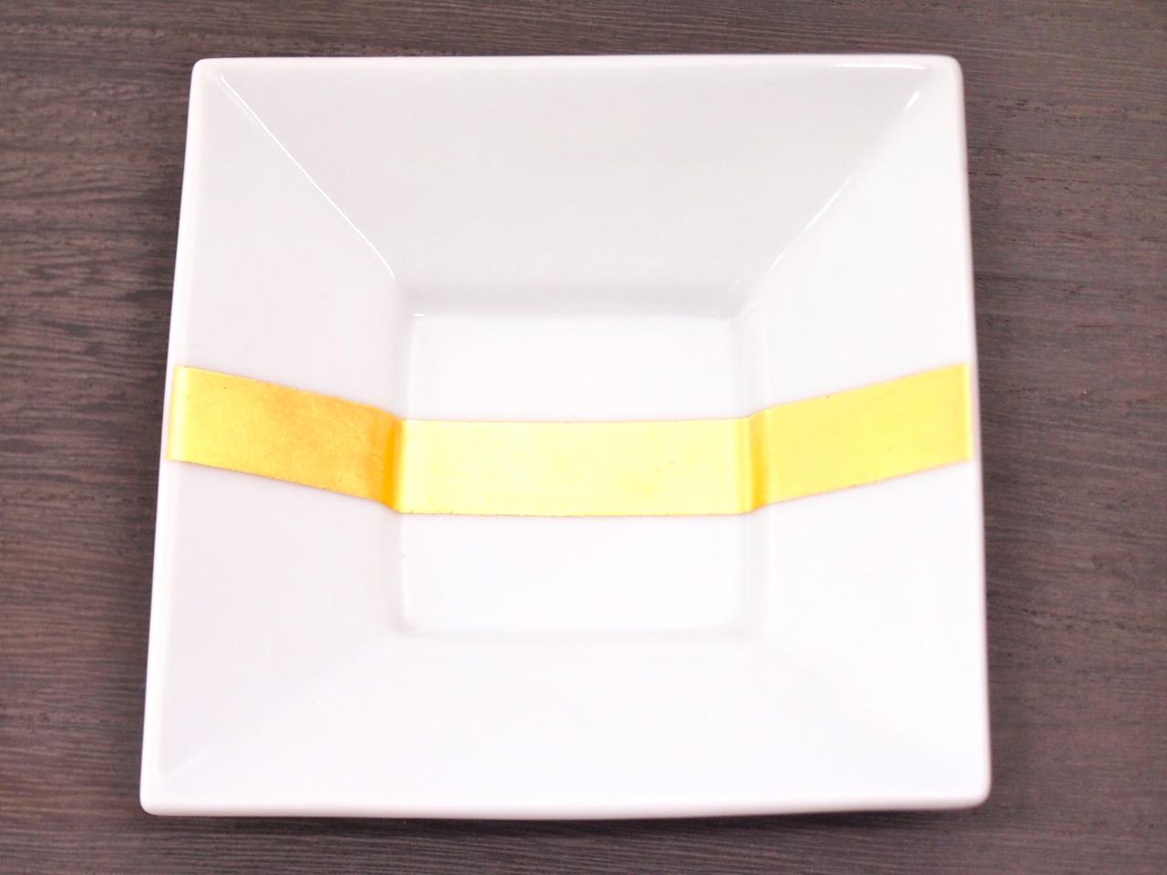 九谷焼 和陶房 3.5号角皿/小皿 豆皿/  帯金箔  辺10.5×高2.3cm