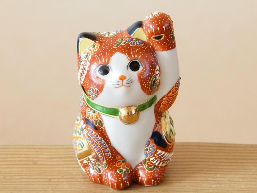 3号招き猫 盛小紋 九谷焼 陶幸 マルヨネ