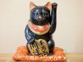 九谷焼 陶幸 10号小判招き猫 黒ヌリ