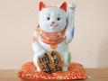 九谷焼 陶幸 10号小判招き猫 白盛