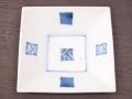九谷焼 和陶房 3.5号角皿/小皿 豆皿/  染付窓小紋  辺10.5×高2.3cm