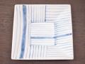 九谷焼 和陶房 3.5号角皿/小皿 豆皿/  染付線文  辺10.5×高2.3cm