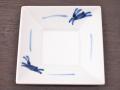 九谷焼 和陶房 3.5号角皿/小皿 豆皿/  染付ウサギ文  辺10.5×高2.3cm