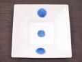 九谷焼 和陶房 3.5号角皿/小皿 豆皿/  青丸紋  辺10.5×高2.3cm