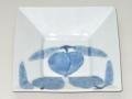九谷焼 和陶房 3.5号角皿/小皿 豆皿/  染付桃文  辺10.5×高2.3cm