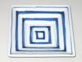 九谷焼 和陶房 3.5号角皿/小皿 豆皿/  染付四角升文  辺10.5×高2.3cm