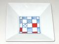 九谷焼 和陶房 3.5号角皿/小皿 豆皿/  染付市松  辺10.5×高2.3cm